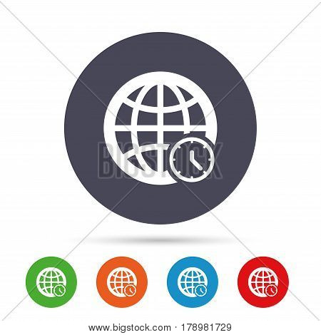 World time sign icon. Universal time globe symbol. Round colourful buttons with flat icons. Vector