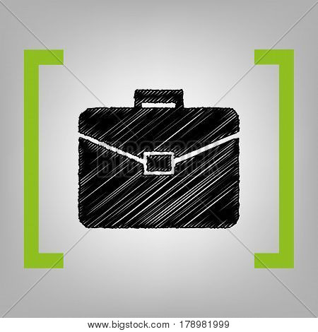 Briefcase sign illustration. Vector. Black scribble icon in citron brackets on grayish background.