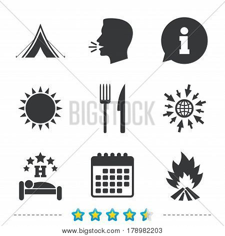 Food, sleep, camping tent and fire icons. Knife and fork. Hotel or bed and breakfast. Road signs. Information, go to web and calendar icons. Sun and loud speak symbol. Vector