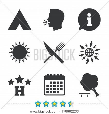 Food, hotel, camping tent and tree icons. Knife and fork. Break down tree. Road signs. Information, go to web and calendar icons. Sun and loud speak symbol. Vector