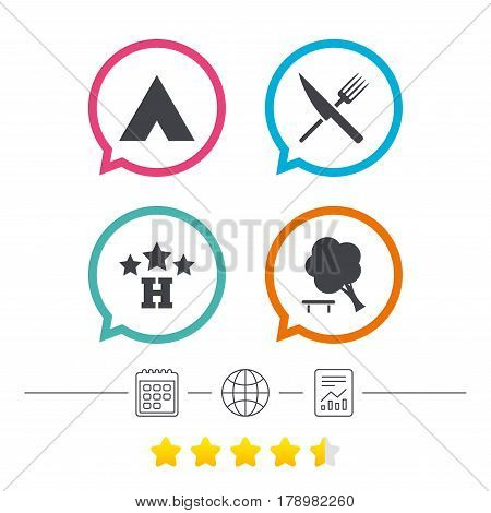 Food, hotel, camping tent and tree icons. Knife and fork. Break down tree. Road signs. Calendar, internet globe and report linear icons. Star vote ranking. Vector