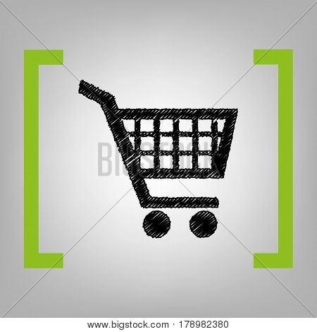 Shopping cart sign. Vector. Black scribble icon in citron brackets on grayish background.
