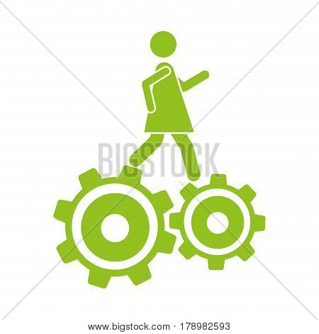 monochrome silhouette with woman over two pinions vector illustration