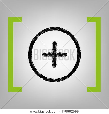 Positive symbol plus sign. Vector. Black scribble icon in citron brackets on grayish background.