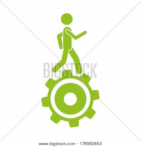 monochrome silhouette with man over pinion vector illustration
