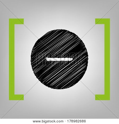 Negative symbol illustration. Minus sign. Vector. Black scribble icon in citron brackets on grayish background.