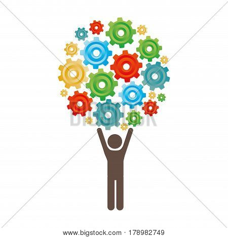 silhouette of man holding up pinions set vector illustration