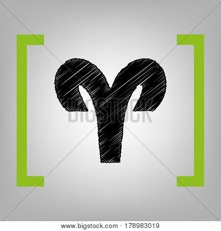 Aries sign illustration. Vector. Black scribble icon in citron brackets on grayish background.