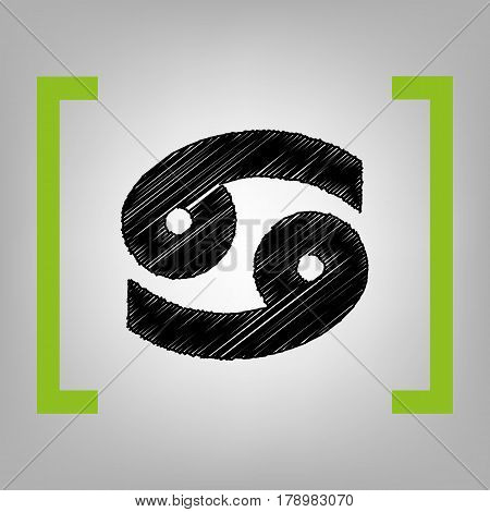 Cancer sign illustration. Vector. Black scribble icon in citron brackets on grayish background.