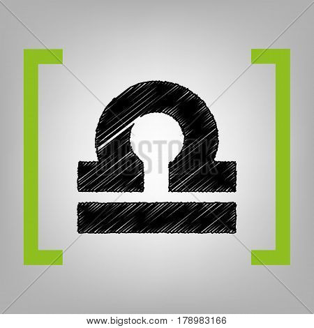 Libra sign illustration. Vector. Black scribble icon in citron brackets on grayish background.