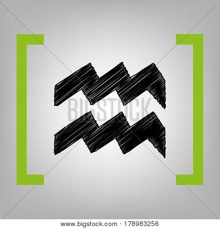 Aquarius sign illustration. Vector. Black scribble icon in citron brackets on grayish background.