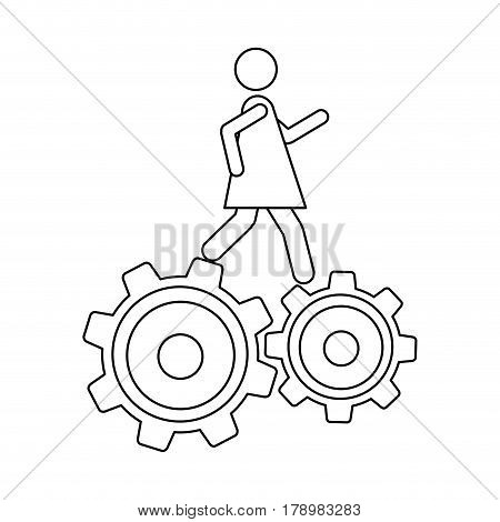 monochrome contour with woman over two pinions vector illustration