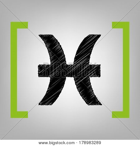 Pisces sign illustration. Vector. Black scribble icon in citron brackets on grayish background.