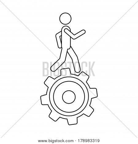 monochrome contour with man over pinion vector illustration