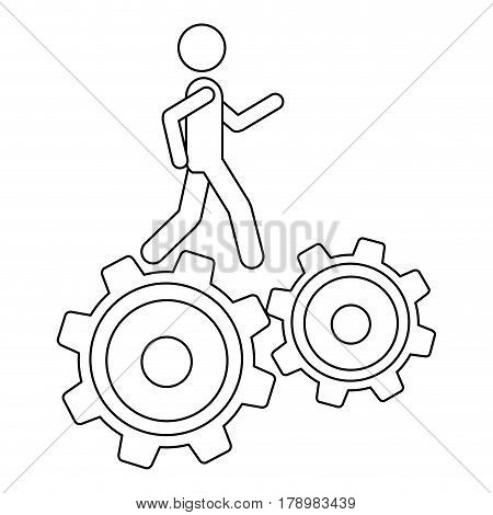 monochrome contour with man over two pinions vector illustration