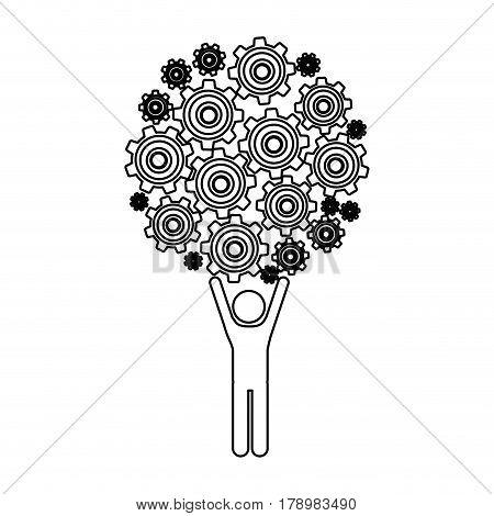 monochrome contour of man holding up pinions set vector illustration