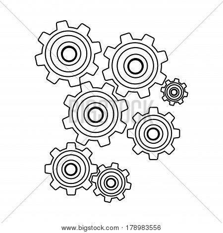 monochrome contour with pinions set vector illustration