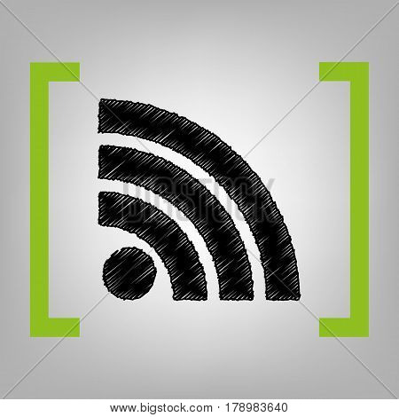 RSS sign illustration. Vector. Black scribble icon in citron brackets on grayish background.