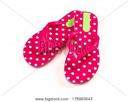 the summer fashion red Flip Flop Sandals Isolated on White background