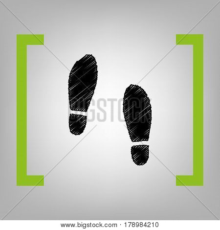 Imprint soles shoes sign. Vector. Black scribble icon in citron brackets on grayish background.