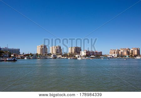 Clearwater Beach Florida skyline viewed toward the west from across Mandalay Channel.