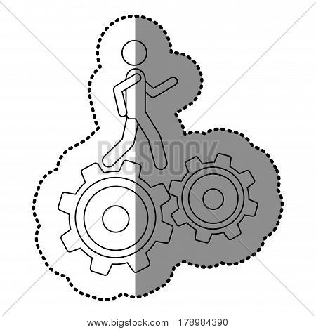 monochrome contour sticker with man over two pinions vector illustration