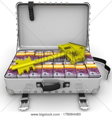 Money for the purchase of real estate. Golden key in the form of the house is lying on open suitcase filled with packs of European currency bills. Isolated. 3D Illustration