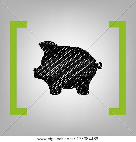 Pig money bank sign. Vector. Black scribble icon in citron brackets on grayish background.