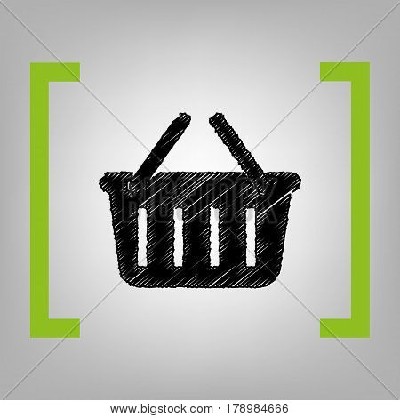 Shopping basket sign. Vector. Black scribble icon in citron brackets on grayish background.