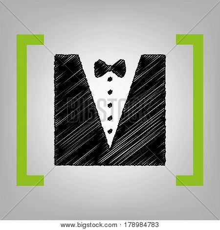 Tuxedo with bow silhouette. Vector. Black scribble icon in citron brackets on grayish background.
