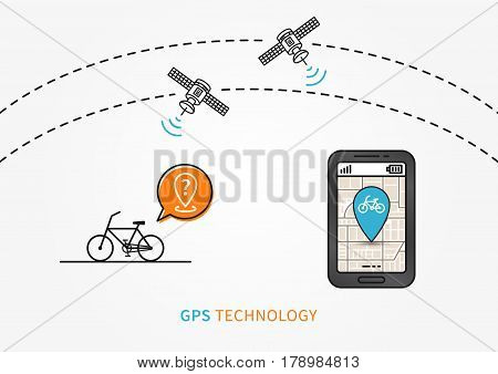 Bike GPS search vector illustration. Navigation technology for bike or bicycle creative concept. GPS satellites help to find bike graphic design.