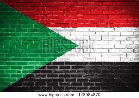 Sudan flag , Sudan flag on wall texture background