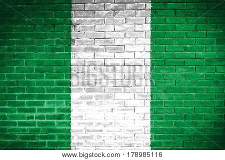 Nigeria flag , Nigeria flag on wall texture background