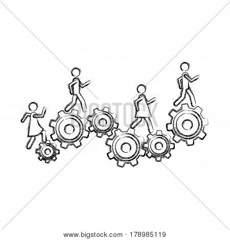 monochrome sketch of people and industry progress vector illustration