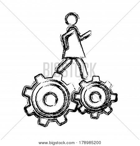 monochrome sketch of woman over two pinions vector illustration