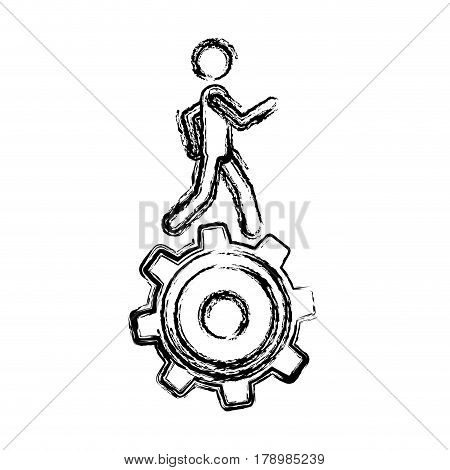 monochrome sketch of man over pinion vector illustration