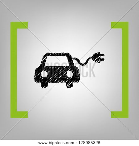 Eco electric car sign. Vector. Black scribble icon in citron brackets on grayish background.