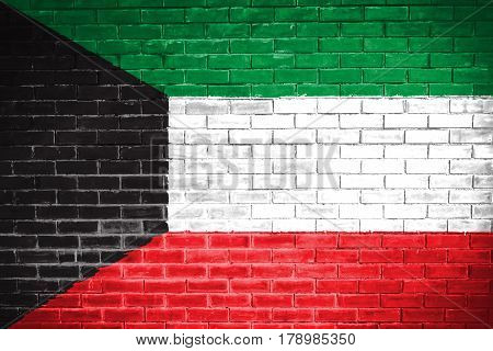 Kuwait flag , Kuwait flag on wall texture background