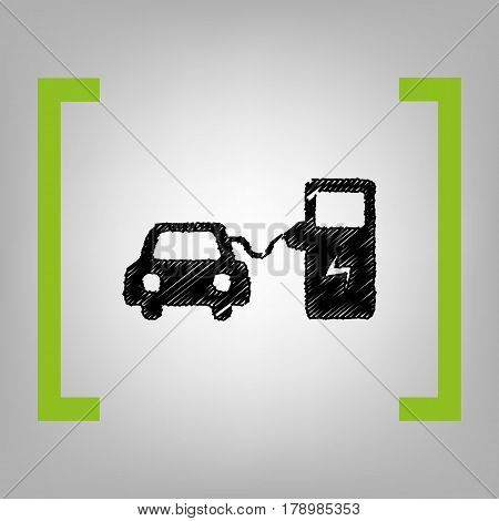 Electric car battery charging sign. Vector. Black scribble icon in citron brackets on grayish background.
