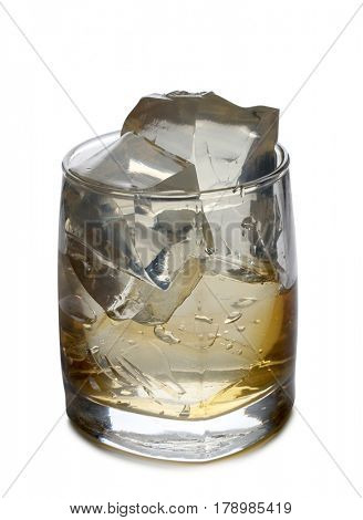 Whiskey and ice in glass on white background