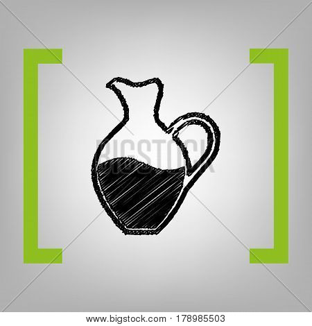 Amphora sign. Vector. Black scribble icon in citron brackets on grayish background.