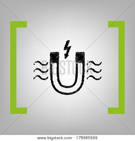 Magnet with magnetic force indication. Vector. Black scribble icon in citron brackets on grayish background.