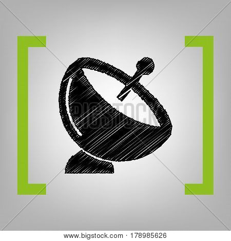 Satellite dish sign. Vector. Black scribble icon in citron brackets on grayish background.