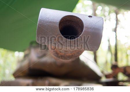 Front of old  gun war tank selective focus