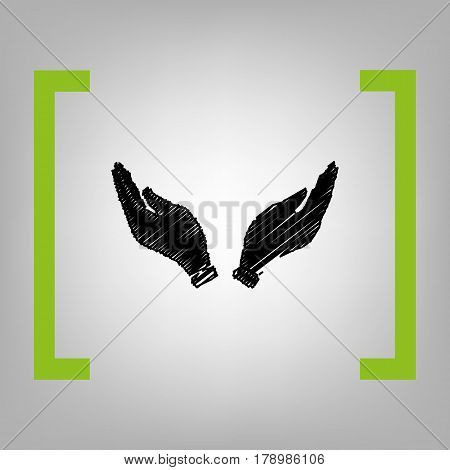 Hand icon illustration. Prayer symbol. Vector. Black scribble icon in citron brackets on grayish background.