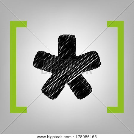 Asterisk star sign. Vector. Black scribble icon in citron brackets on grayish background.