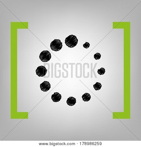 Circular loading sign. Vector. Black scribble icon in citron brackets on grayish background.