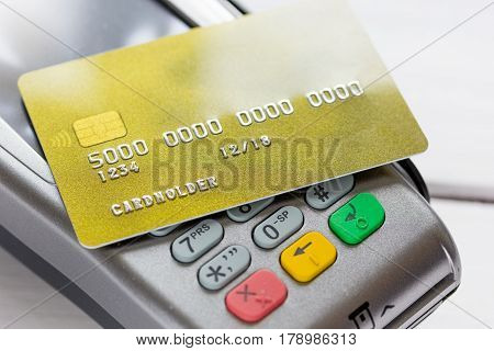 purchase with payment by credit card on white desk background