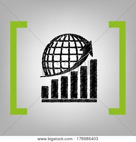 Growing graph with earth. Vector. Black scribble icon in citron brackets on grayish background.