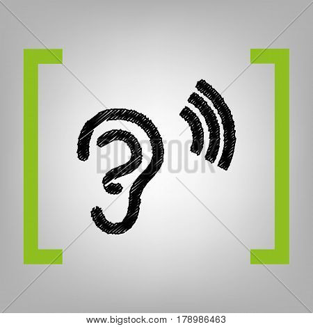 Human ear sign. Vector. Black scribble icon in citron brackets on grayish background.